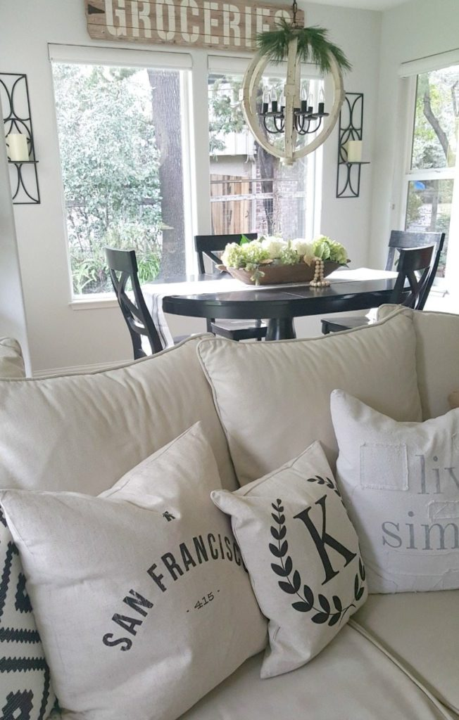 Contrasting Black and White and Fresh Flowers add wow to this restyle.