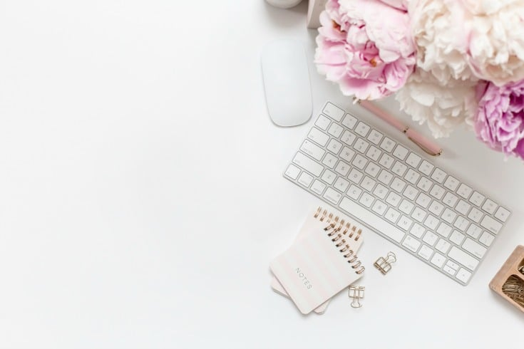 white keyboard and pink accessories Instagram success