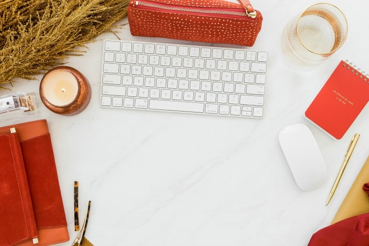 red accent desk for Instagram success