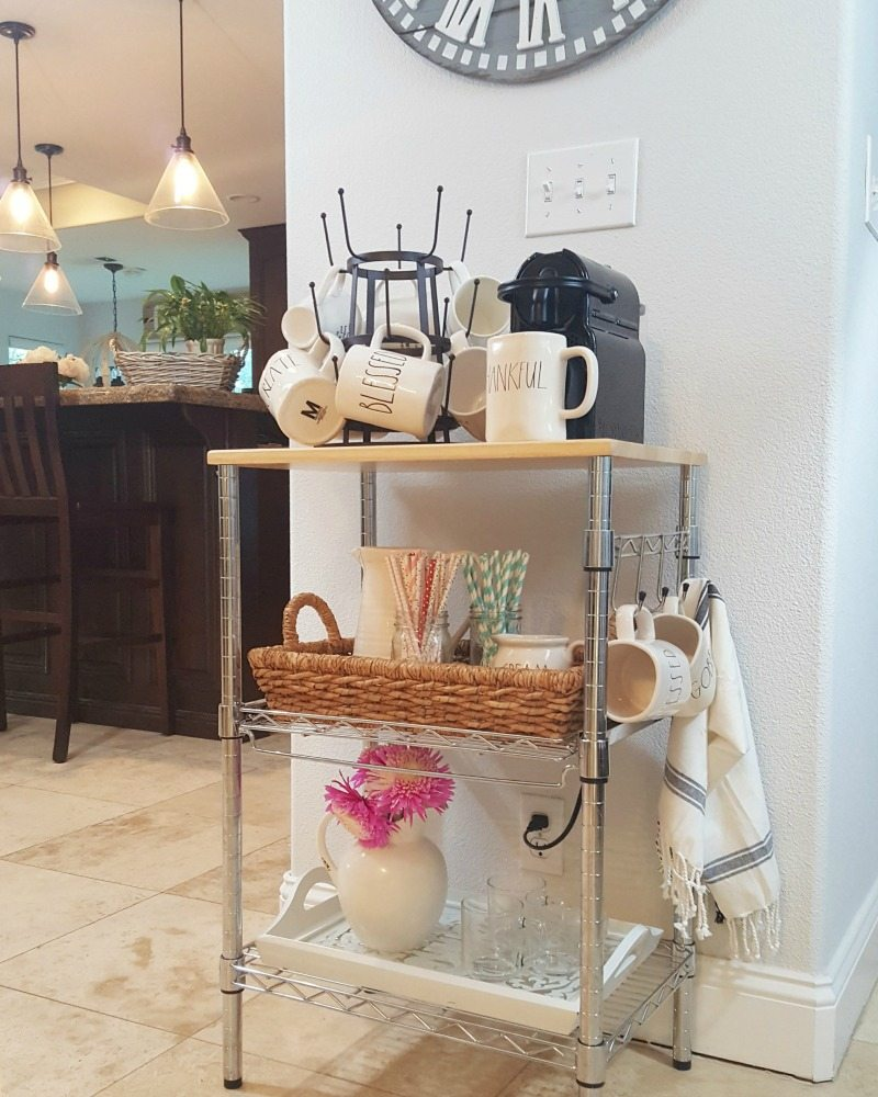 Create easy coffee station on bar cart