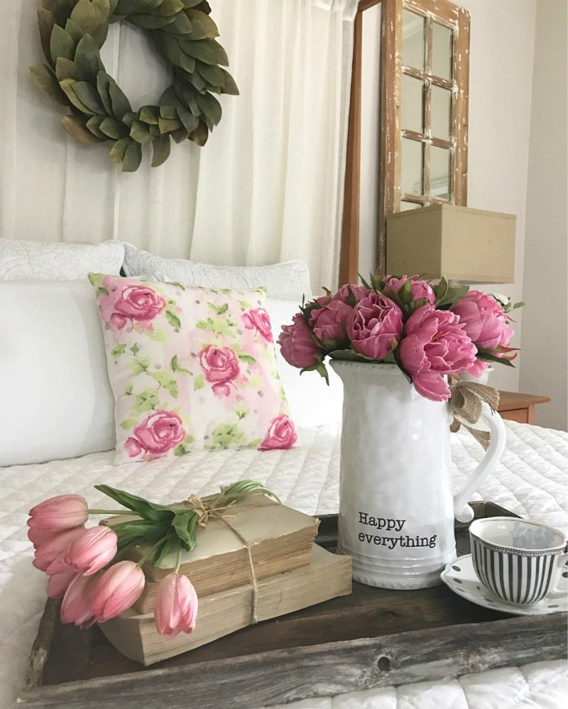Fresh Spring Decorating made easy with flowers & pillows