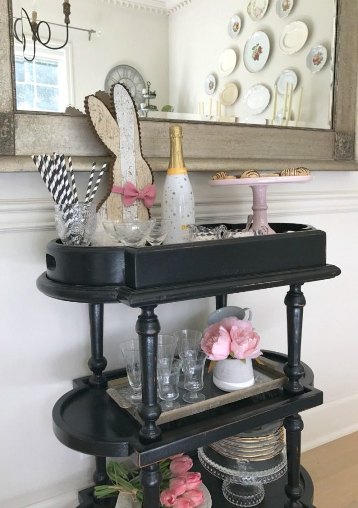 Bar Cart decor: pink Easter party