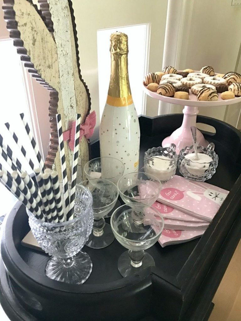 Easter party decor on darling bar cart