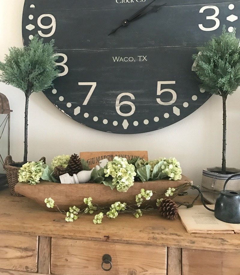 Farmhouse table, rustic decor with magnolia home clock
