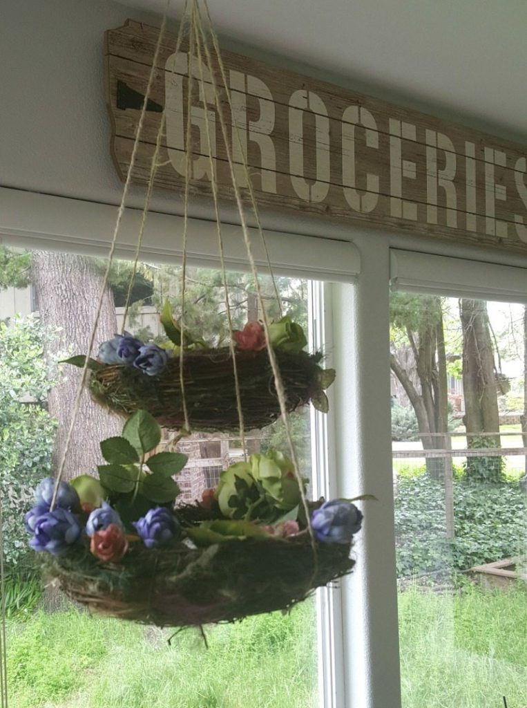 flower decorated hanging nest