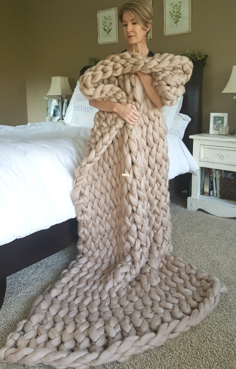 large wool arm knit throw is beautiful and soft