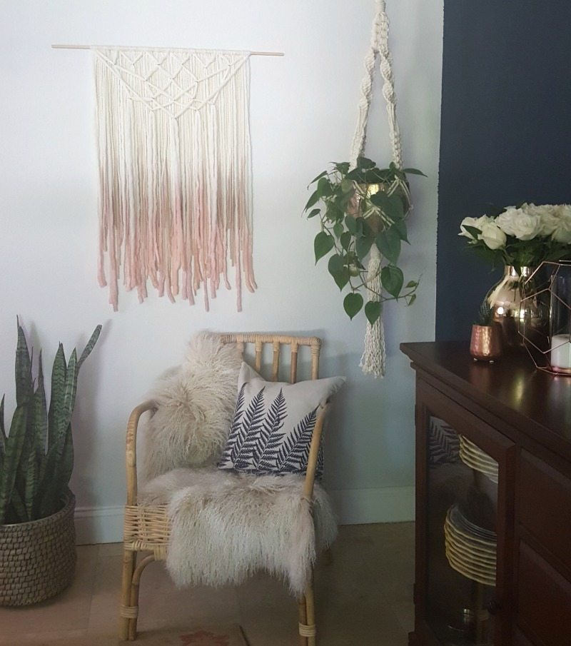 wall art, macrame, tapestry to create Bohemian look