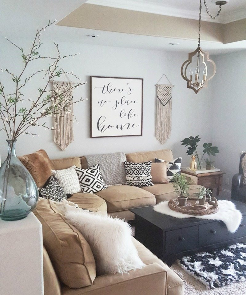 Boho living room with macrame
