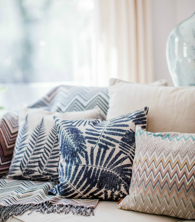 summer mixed pattern pillows and throw