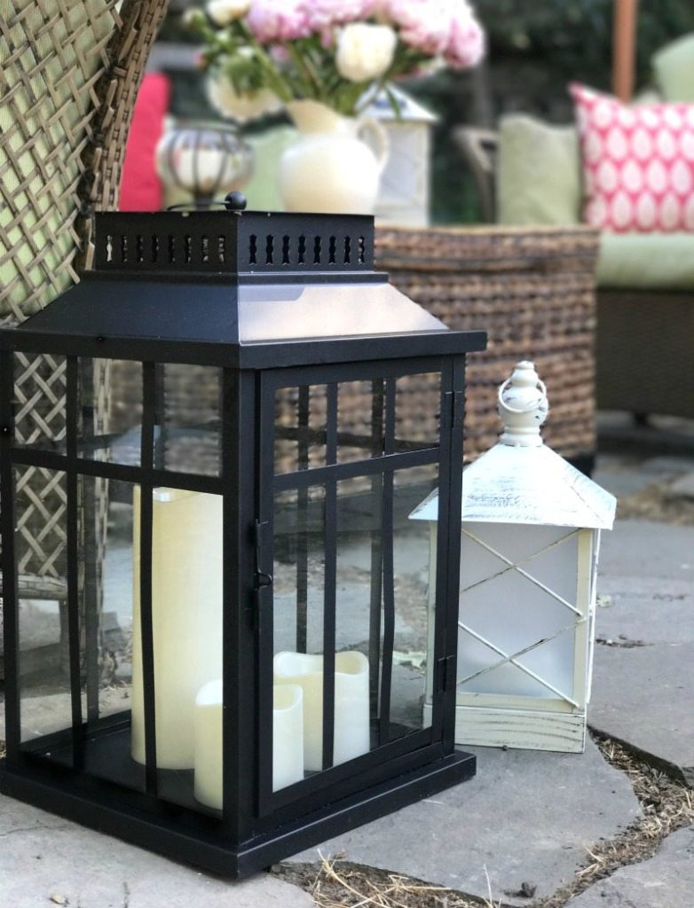 outside lanterns as garden decor