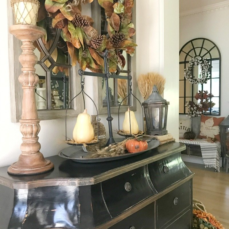 decorate for fall with natural decor and warm colors like orange and rust