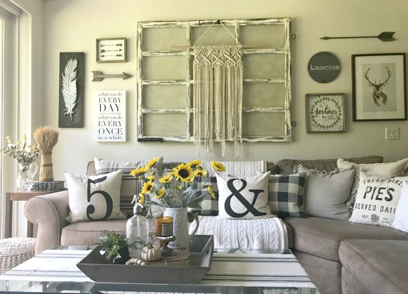 decorate for fall with pillows and neutral whites