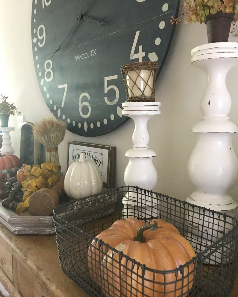 fall home tour decorating tips with pumpkins and waco texas clock