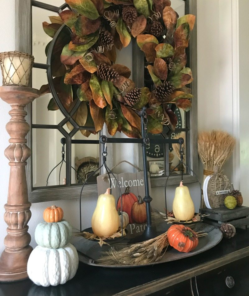 decorate for fall with wreaths and pumpkins