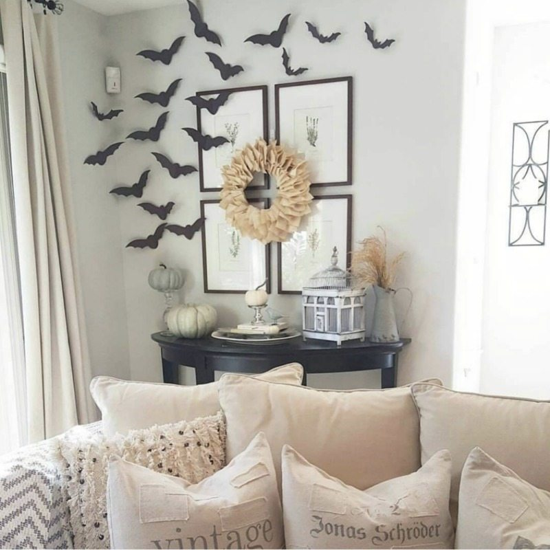 simple paper bat halloween decor in family room