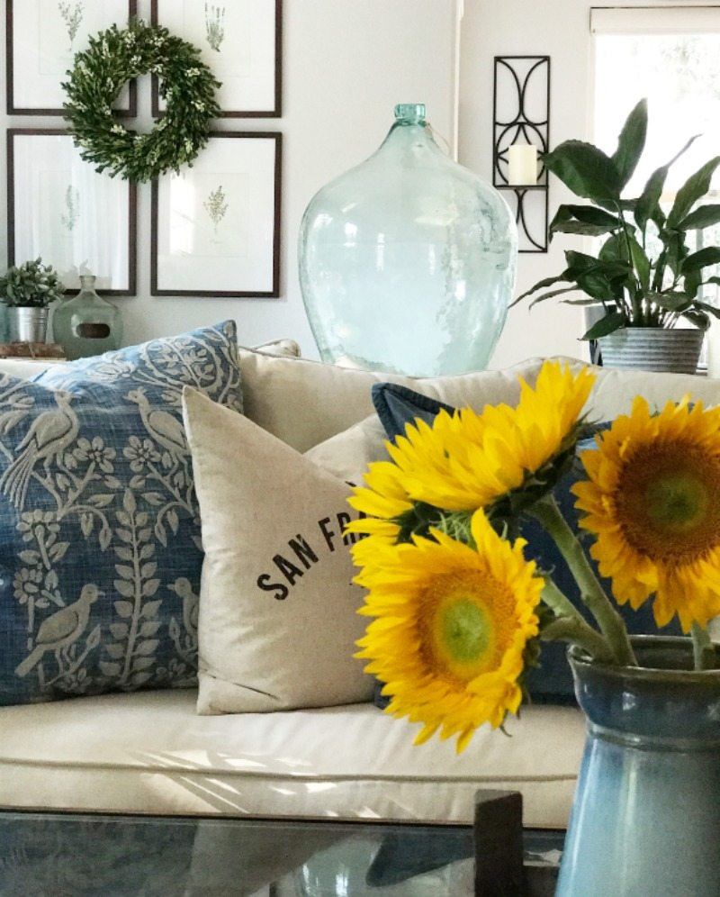 sunflower accents in living room