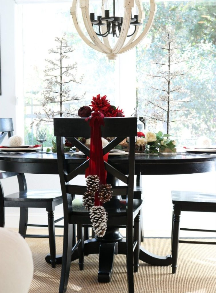 pine cone chair decor for the holidays