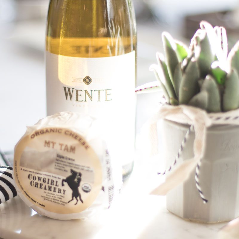 hostess tips with Wente Vineyard Wines and cheese board