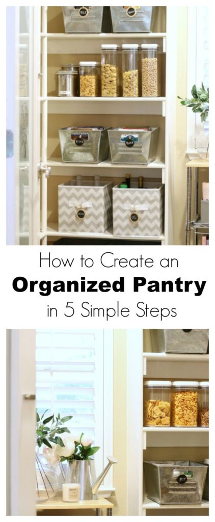 how to create an organized pantry in 5 steps pin