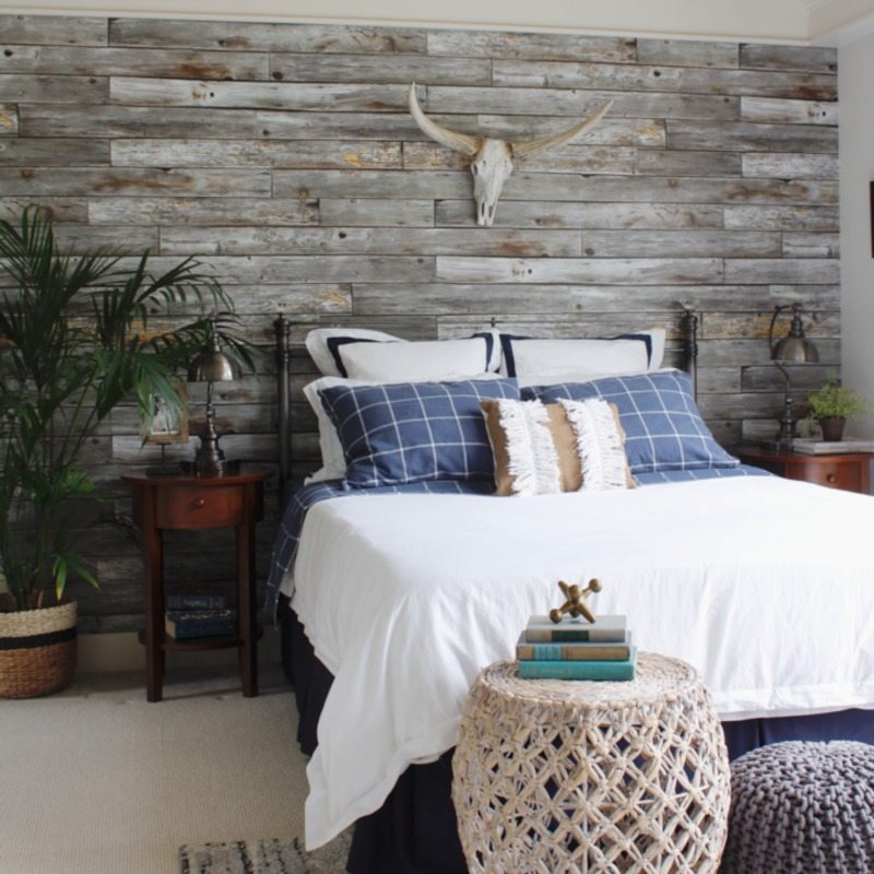 photo of bedroom with Rustic Wood Panels wallpaper from Milton & King