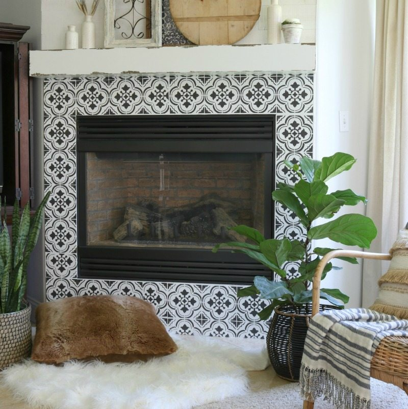 finished look fireplace stencil diy