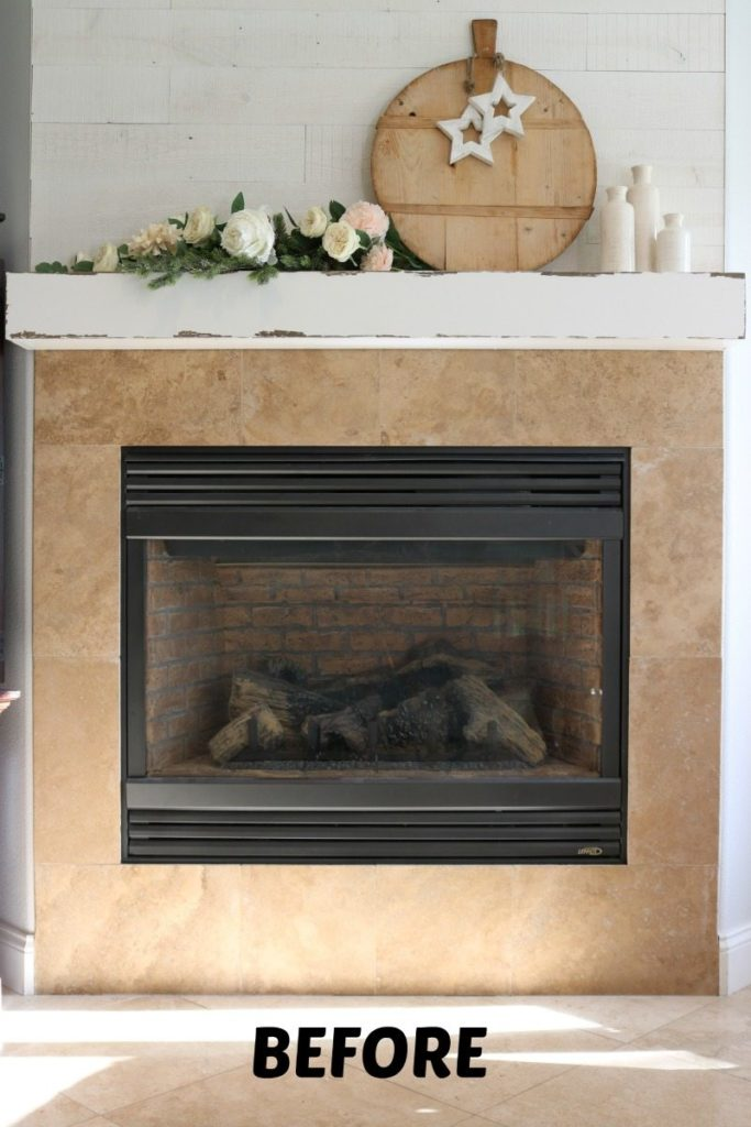 Fireplace stencil makeover