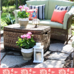 beautiful backyard seating destination with bright colors