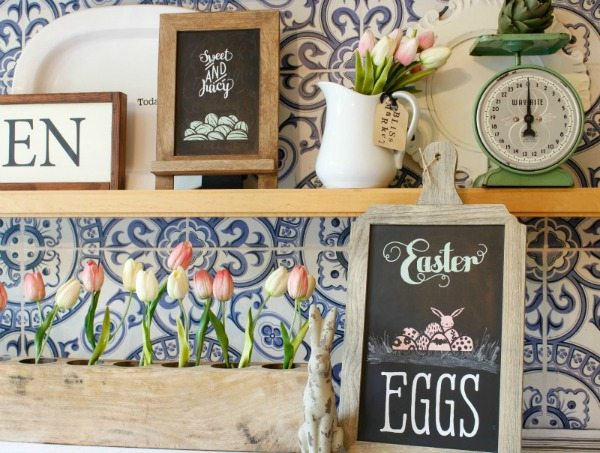 Spring decor with chalk art