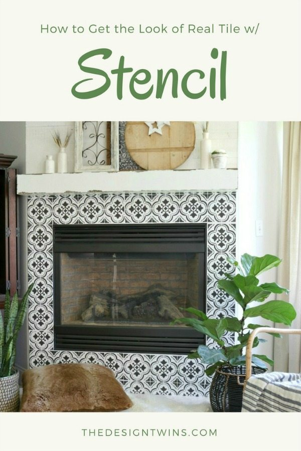 fireplace stencil and gallery wall