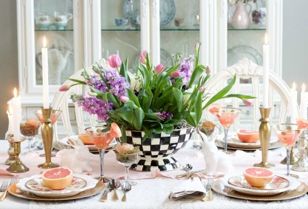 spring decor tablescape