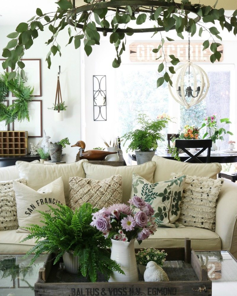 greenery and florals create a springtime oasis indoors