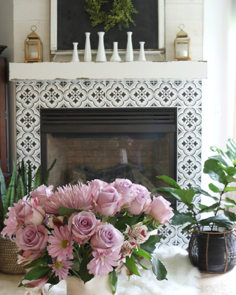 fireplace decor with florals