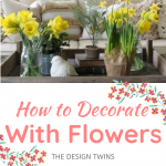 yellow daffodils and yellow and pink peonies for spring
