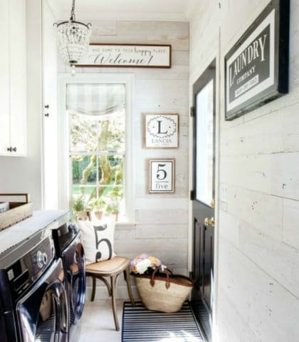 fabulous farmhouse laundry room makeover with barnwood walls