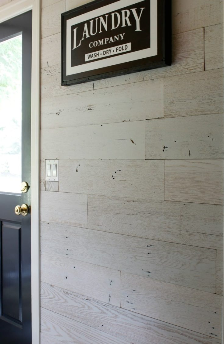 laundry room barn wood wall diy with Olde Wood peel and stick wood