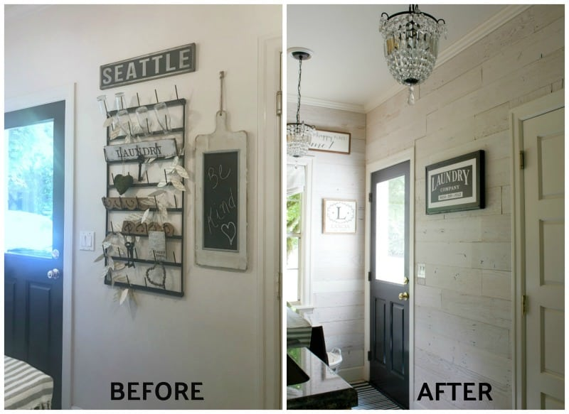 before and after DIY wood wall