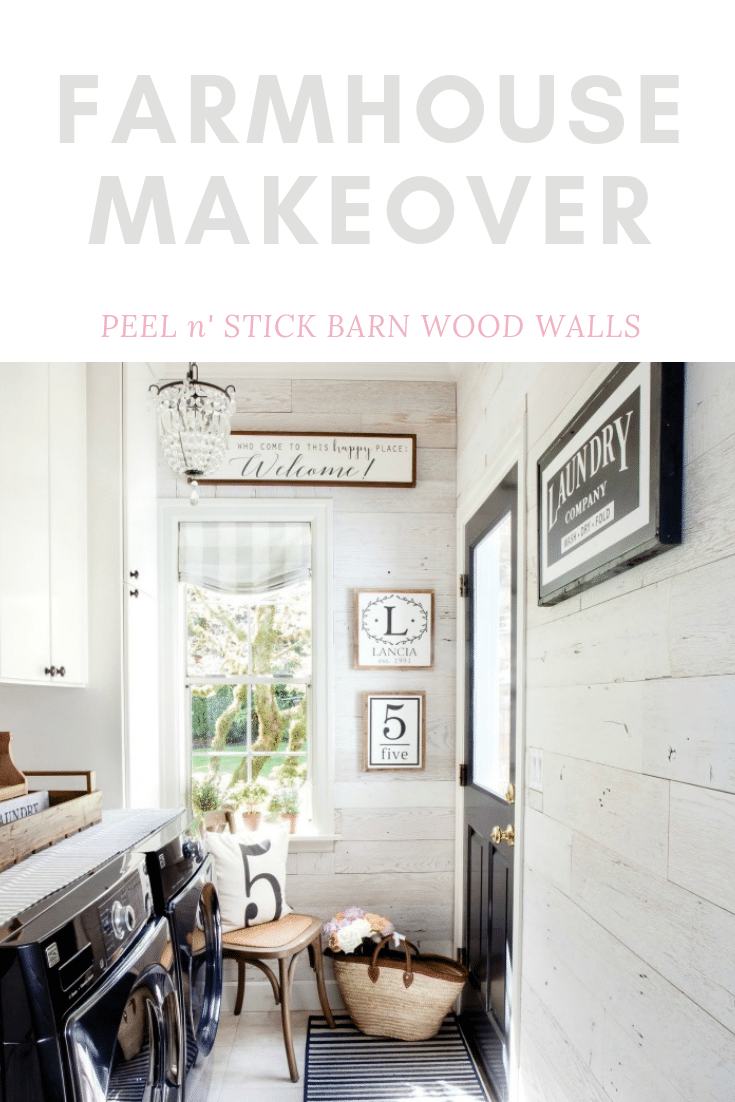 Create Farmhouse makeover with easy diy peel n stick barn wood walls