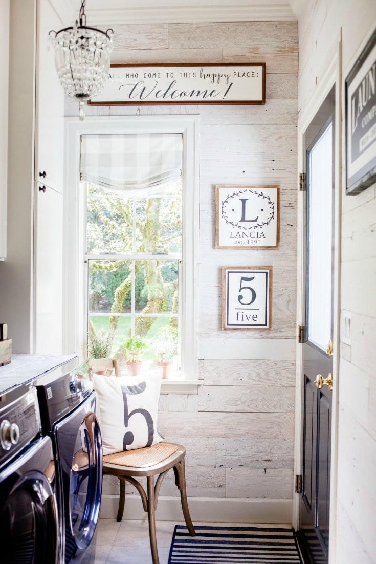 laundry room makeover with diy peel and stick barnwood product adds vintage look and farmhouse style