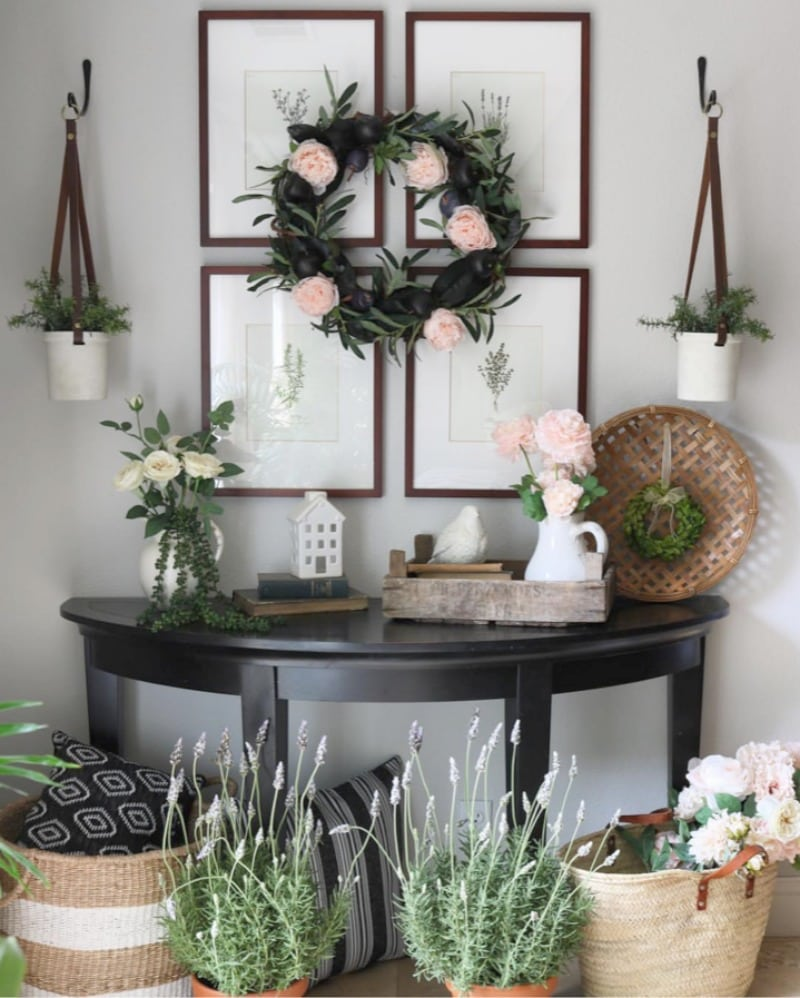 soft pink accents home decorating accent table vignette with flowers