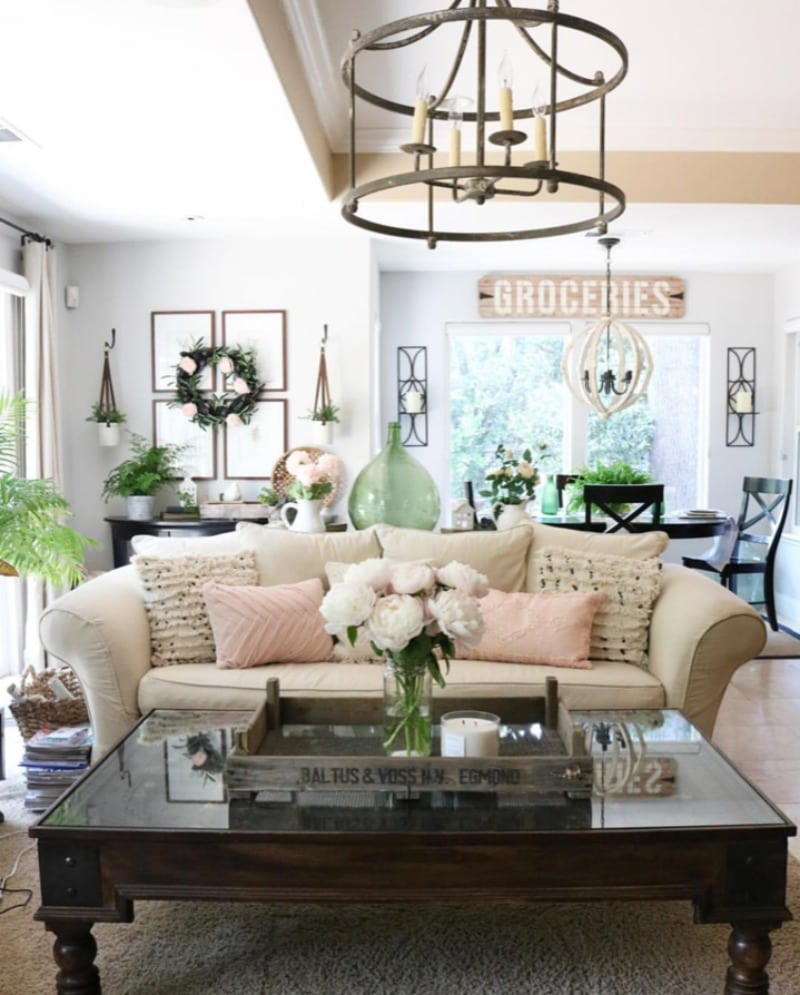 pink decorating with pillows farmhouse living room