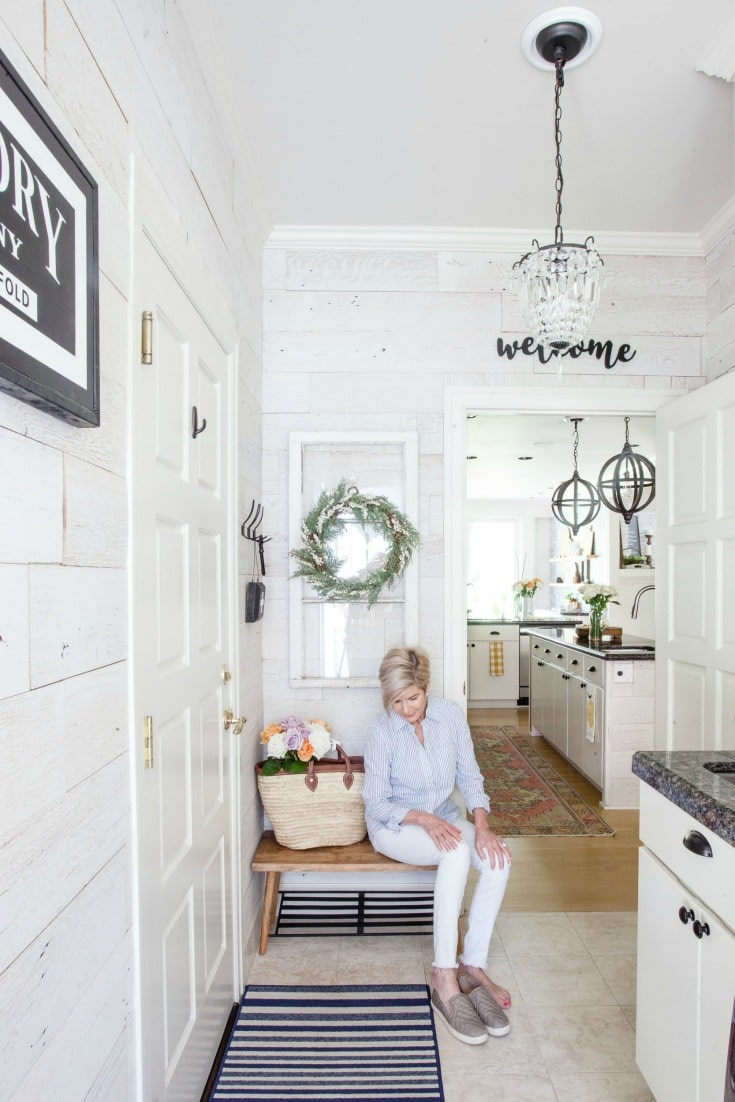 Mudroom-Laundry room gets a farmhouse makeover with real barnwood walls