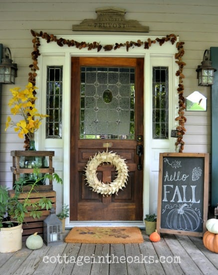 chalkboard sign and leaf garland