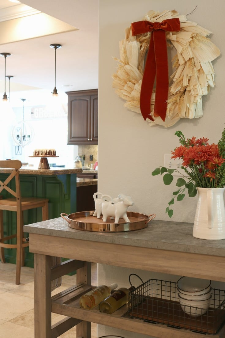 kitchen island with accents items