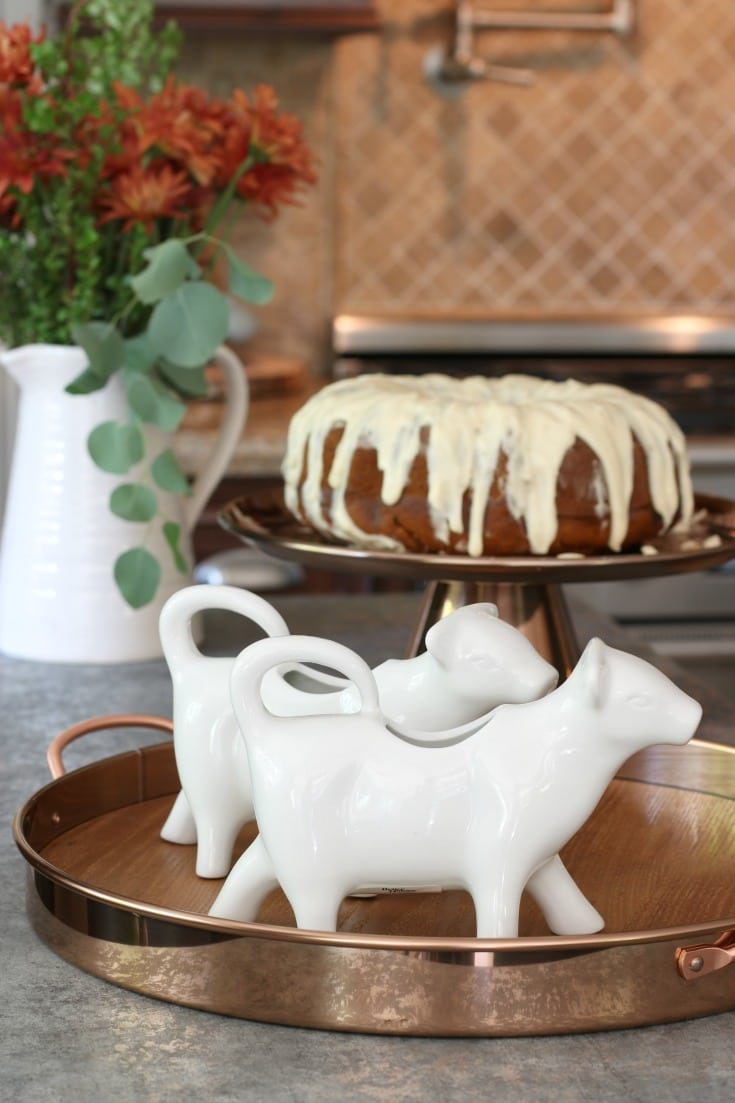 cows and pumpkin bundt cake