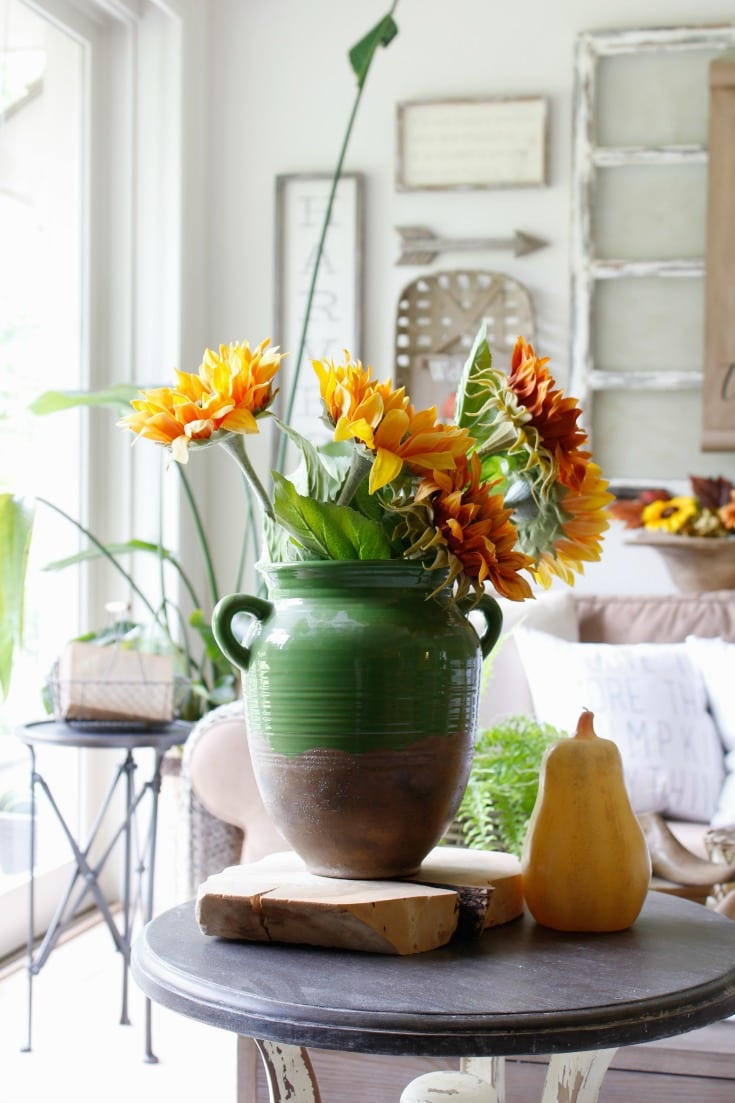 festive fall home sunflowers