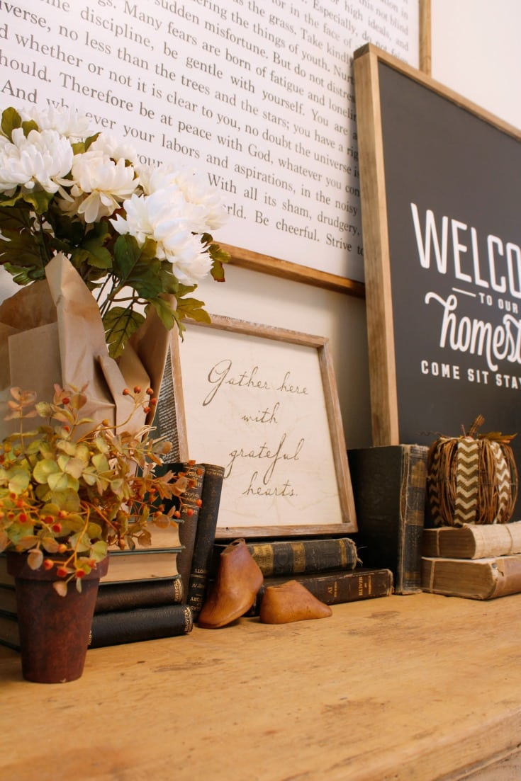 farmhouse sign and table fall vignette