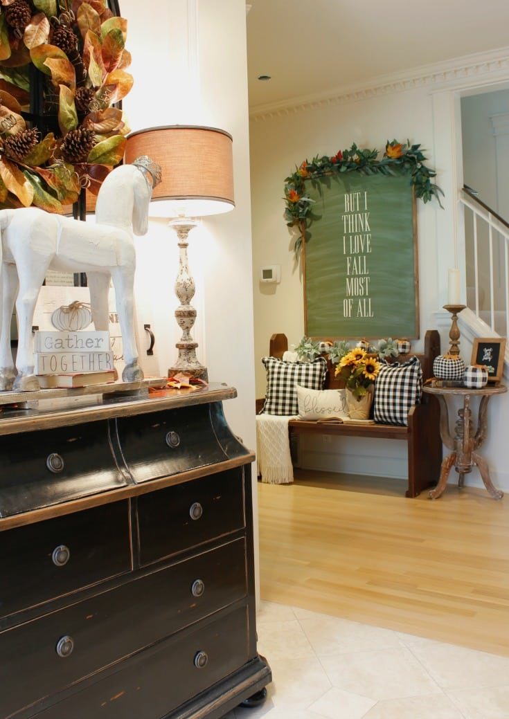 front hallway farmhouse fall decor with bench