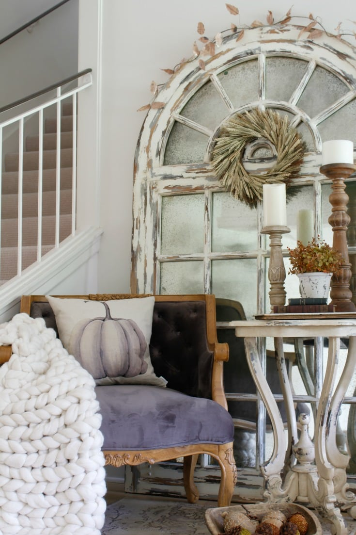 festive fall home with chunky knit throw