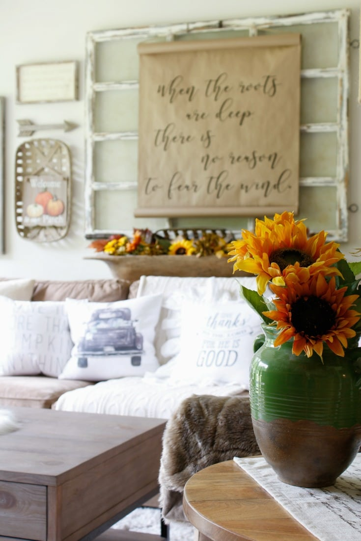 festive fall home with sunflowers