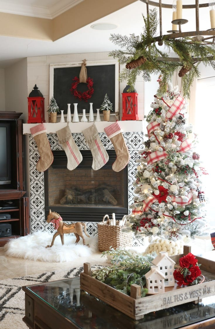 Christmas home tour festive tree and mantle
